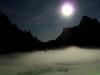 Brume sur le lac en hiver